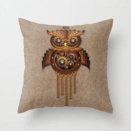 Steampunk Owl Vintage Style Throw Pillow