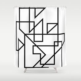 Black & White Minimal Design Shower Curtain
