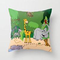 jungle Throw Pillows featuring JUNGLE by Rebecca Bear