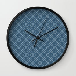 Beige & Blue Angled Grid Line Pattern Pairs To 2020 Color of the Year Chinese Porcelain PPG1160-6 Wall Clock