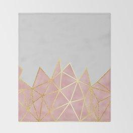 Pink & Gold Geometric Throw Blanket