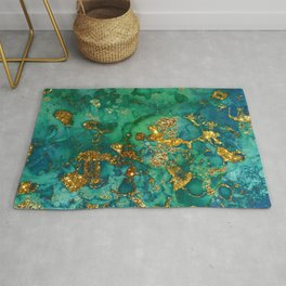 Malachite and Gold Glitter Stone Ink Abstract Gem Glamour Marble Rug