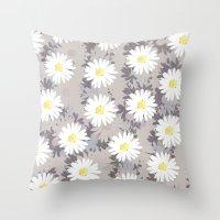 daisies Throw Pillows featuring Daisies by Georgiana Paraschiv