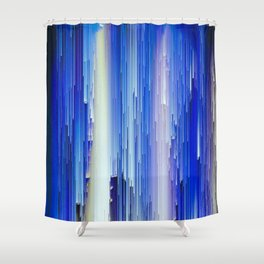 Frozen blue waterfall abstract digital painting Shower Curtain
