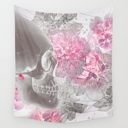 Negative Of Skull And Peonies Wall Tapestry