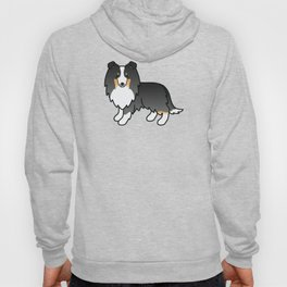 Tricolor Shetland Sheepdog Dog Cartoon Illustration Hoody