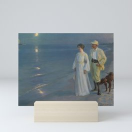Summer Evening at Skagen beach. The artist and his wife. Mini Art Print