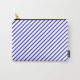Diagonal Lines (Blue/White) Carry-All Pouch
