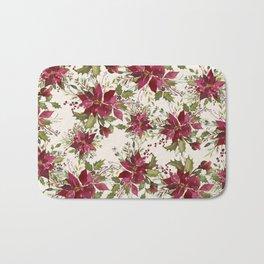 Poinsettia Pattern Bath Mat