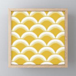 Japanese Fan Pattern Mustard Yellow Framed Mini Art Print
