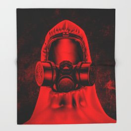 Toxic environment RED / Halftone hazmat dude Throw Blanket