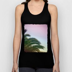 Palm Leaves  - Tropical Sky - Chilling Time Unisex Tank Top