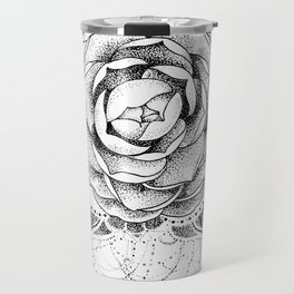 Camellia Dotwork Mandala Travel Mug