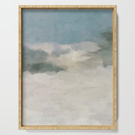 Modern Abstract Painting, Teal Blue, Sage Green, Beige Yellow Sandy Digital Prints Wall Art, Ocean Serving Tray