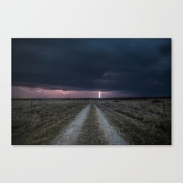 Darkness Falls - Lightning Strikes Down a Country Road at Night Canvas Print