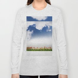 Red and yellow tulips and cloudscape Long Sleeve T-shirt