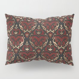 Persian Oriental Pattern - Black and Red Leather Pillow Sham