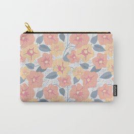 Pale pink and yellow bindweed flowers   Carry-All Pouch