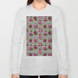 Neon pink green white black geometrical chevron floral Long Sleeve T-shirt