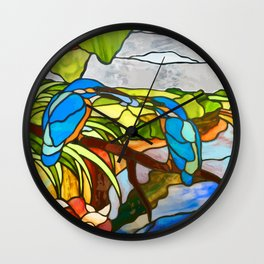 Kingfishers Over The River Wall Clock