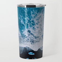 Abstract and minimalist black sand beach in Iceland with chunks of Ice and waves - moody Landscapes Travel Mug