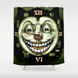 Black Cat 13 Halloween Clock Shower Curtain