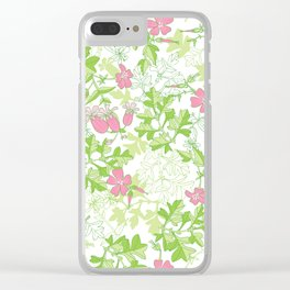 Forest Wildflowers / White Background Clear iPhone Case