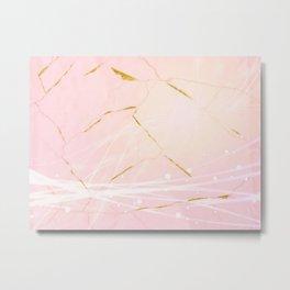 Rose Gold Marble Burst Metal Print