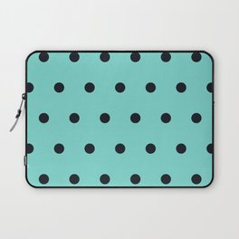 Small Black Dots on Aqua Laptop Sleeve