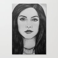 jenna kutcher Canvas Prints featuring Jenna Coleman biro portrait by Eleanor Dapre