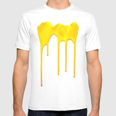 Yellow Splatter White MEDIUM Mens Fitted Tee