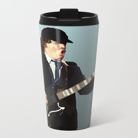 Low Polygon Portrait of Angus Young Metal Travel Mug