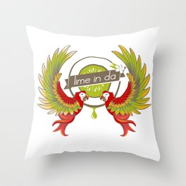 Lime in the coconut and two scarlet macaws. Throw Pillow