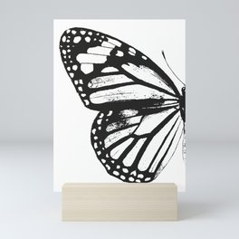Monarch Butterfly | Left Butterfly Wing | Vintage Butterflies | Black and White | Mini Art Print