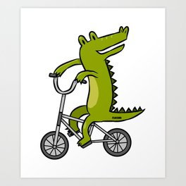 Crocodile Alligator Reptile child bike gift Art Print