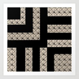 Black and Tan Art Deco Art Print