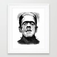frankenstein Framed Art Prints featuring Frankenstein by Zombie Rust