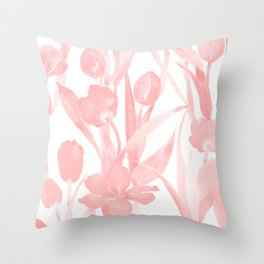 Blush Pink Tulips in Watercolor Throw Pillow