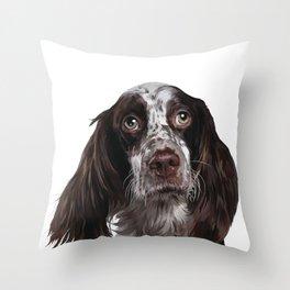English Springer Spaniel - Puppy Dog Digital Art Illustration Throw Pillow