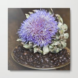 Coffe Beans and Blue Flower of Artichoke Metal Print