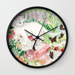 White Cat in a Garden Wall Clock