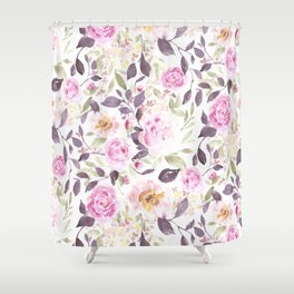 Farmhouse Floral Aubergine Shower Curtain