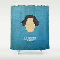 "oscar wilde Shower Curtains featuring Oscar Wilde - ""All art is quite useless"" by cowcowmoomoo"