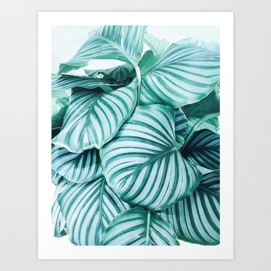 Long embrace - teal green Art Print