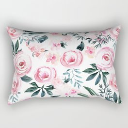 Floral Rose Watercolor Flower Pattern Rectangular Pillow