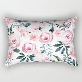 Floral Rose Watercolor Flower Pattern Rectangular Pillow