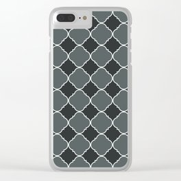 PPG Paint Night Watch Moroccan Tile Ornamental Pattern with White Border Clear iPhone Case