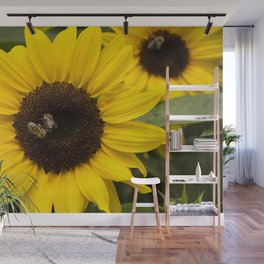 Sunflower with bees Wall Mural