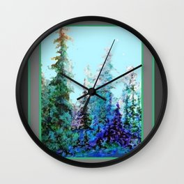 Grey  Blue Mountain Nature Landscape Blue-Greens Wall Clock