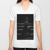 shadow V-neck T-shirts featuring Shadow by Red Drago